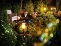 Illuminated home garden fountain patio Royalty Free Stock Photography