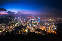 Illuminated Hong Kong cityscape as seen from Jardine's Lookout, Hong Kong Island Royalty Free Stock Photos