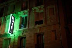 Illuminated hotel sign. Royalty Free Stock Images