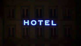 Illuminated hotel sign taken at night Royalty Free Stock Photo