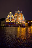 Illuminated house of the Blackheads Royalty Free Stock Images