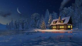 Illuminated house and christmas tree at moonlight night Stock Photos