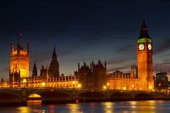 Illuminated Houses of Parliament Royalty Free Stock Images