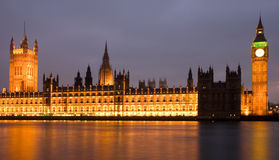 Illuminated Houses of Parliament London Stock Photos