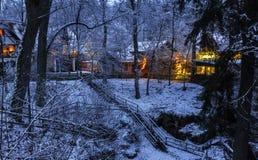 Illuminated houses- winter forest Royalty Free Stock Photo