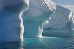 Illuminated iceberg in Antarctica stock photography