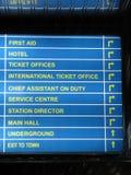 Illuminated indicator. On a railway station Royalty Free Stock Images