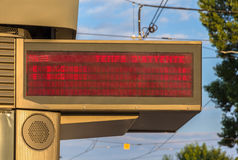 Illuminated indicator board of waiting time of trams Stock Image