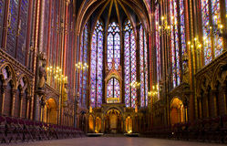Illuminated interior of the Sainte Chapelle royalty free stock image