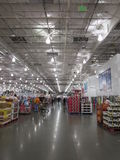Illuminated interior of a supermarket. Interior of a very big super market of America royalty free stock images
