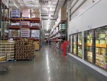 Illuminated interior of a supermarket. Interior of a very big super market of America royalty free stock image