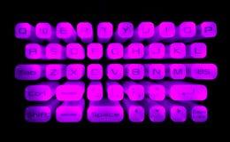 Illuminated Keyboard. Zooming effect of an illuminated Keyboard stock photography