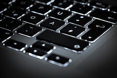 Illuminated keyboard keys Royalty Free Stock Photography