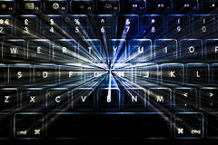 Illuminated Keyboard with Light Trails Stock Photos
