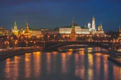 Illuminated Kremlin in Moscow, Russia Stock Photos