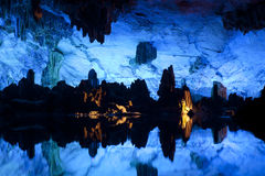 Illuminated Lake in Cave Stock Photography
