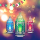 Illuminated lamp on Ramadan Kareem background Stock Photography