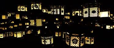 Illuminated lanterns. Lanterns glowing in the dark Stock Photo