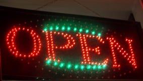 Illuminated led open sign stock footage