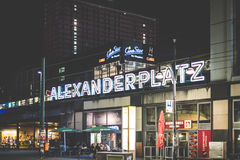 Illuminated letters of the Alexanderplatz train station exterior Royalty Free Stock Photo