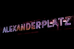 Illuminated letters of the Alexanderplatz train station exterior Stock Photography
