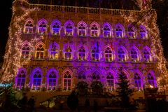 Illuminated Leuven Gothic Town hall on christmas, Belgium royalty free stock photo
