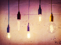 Illuminated light bulbs Royalty Free Stock Photos