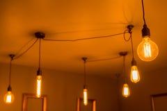 Illuminated Light Bulbs of Various Shapes Royalty Free Stock Photo