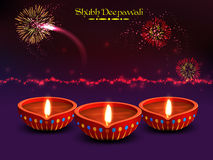 Illuminated Lit Lamps for Diwali Celebration. Elegant Diwali Festival Background with Glowing Fireworks, Vector Realistic Illuminated Oil Lit Lamps, Beautiful Stock Images