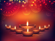 Illuminated Lit Lamps for Diwali Celebration. Elegant Illuminated Oil Lit Lamps, Beautiful Traditional Festive floral Background, Glowing Ornaments, Vector