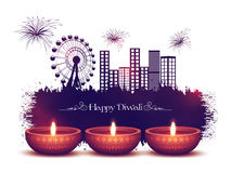 Illuminated Lit Lamps for Diwali Celebration. Glossy Illuminated Oil Lit Lamps on urban city background, Vector Greeting Card for Indian Festival of Lights Royalty Free Stock Image