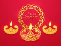 Illuminated lit lamps for Happy Diwali celebration. Royalty Free Stock Image