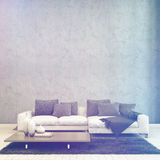 Illuminated Living Room with Couch and Table Stock Photography