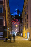 Illuminated Ljubljana castle Stock Photo