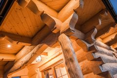 Illuminated Log Cabin Royalty Free Stock Photos