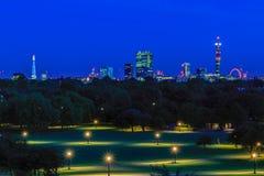 Illuminated London Cityscape at Night Stock Photos