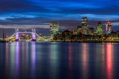 Illuminated London Cityscape During Sunset Stock Photography