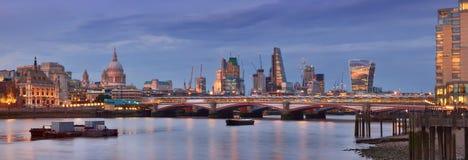 Illuminated London, panoramic view over Thames rive Stock Photos