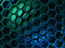 Illuminated loudspeaker grid stock photo