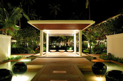 Illuminated lounge area of luxury hotel Stock Photography
