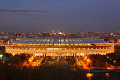 Illuminated Luzhniki Stadium at evening Royalty Free Stock Images