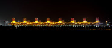 Illuminated Main Grandstand on the occasion of National Day Fireworks at Bahrain Royalty Free Stock Photo