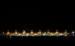 Illuminated Main Grandstand on the occasion of National Day Fireworks at Bahrain Stock Images