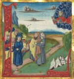 Illuminated Manuscript, Bible (part), God appears to Moses and a group of Israelites, Walters Manuscript W.805, fol. 78v Stock Images