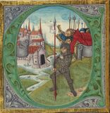 Illuminated Manuscript, Bible (part), Joshua in silver armor leads the assault on Jericho, Walters Manuscript W.805, fol Stock Photography