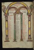 Illuminated Manuscript, Gospels of Freising,Canon tables, Walters Art Museum Ms. W.4, fol. 26v Stock Images