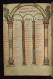 Illuminated Manuscript, Gospels of Freising, Canon tables, Walters Art Museum Ms. W.4, fol. 29v Stock Photo