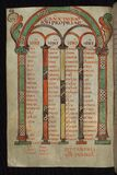 Illuminated Manuscript, Gospels of Freising, Canon tables, Walters Art Museum Ms. W.4, fol. 32v Stock Image