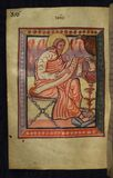 Illuminated Manuscript, Gospels of Freising, Evangelist Portrait of John, Walters Art Museum Ms. W.4, fol. 178v Royalty Free Stock Images