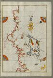 Illuminated Manuscript, The Islands of Corfu (Kerkira, Kūrfūz) and Paxi (Paxoi) from Book on Navigation, Wal Royalty Free Stock Photos